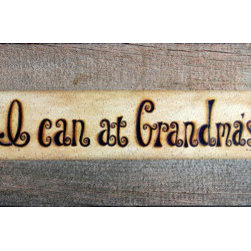 KAF - I Can At Grandma's ountry Sign 20x5 - I  Can  at  Gramdma's,  Country  Sign,  20x5,  framed  in  rustic  barnwood    This  country  sign  quote  I  Can  at  Grandma's is  framed  in  3  inch  wide  rustic  barnwood  and  is  a  favorite  of  grandmas  everywhere.   Full  size  with  frame  included  is  20x5  and  can  spice  up  the  wall  of  a  kitchen,  living  room  or  family  room.    Frame  includes  country  sign  print,  glass,  backing,  and  saw  tooth  hanger.