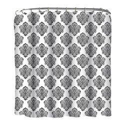 Indecor - Black & White Medallion Shower Curtain Set - Bring your décor to life with the stylishly ornate design of this eye-catching fabric shower curtain.   Includes shower curtain and 12 matching roller hooks 100% polyester Imported