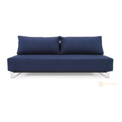 "Play Sofa Bed - Blue Slipcover - Perhaps the smartest of all our sofa beds, this one just works for so many situations. It's lack of arms make the most of small spaces and since the sofa comes apart, it is super easy to move from room to room, up narrow staircases or around awkward corners. The sofa bed comes complete with one slip cover that can be removed and cleaned when needed, the perfect solution for families with small children or pets. Additional slip covers in different colours may be purchased to refresh your look. The sofa bed folds down to become a double bed, large enough to sleep 2 people comfortably. The sofa is constructed with a premium 10"" pocket spring mattress topped with a layer of high quality eco-foam and fibre fill, making it both comfortable to sit on and great for a good nights sleep. No fold away springy mattresses here! See our website for more details or call us toll free to purchase."