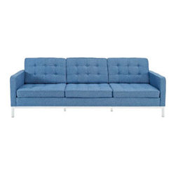"""LexMod - Florence Style Loft Wool Sofa in Blue Tweed - Loft Wool Sofa in Blue Tweed - The mid-20th century was a time when hopes were at their highest. Technological developments were bustling forward, and the new world was just barely visible in the distance. But this time also presented a dilemma of sorts. The test of this forthcoming era was to be whether industry would foster comfort or stifle it. What makes the Loft series so complete? At first glance, it displays a pleasant linear design with an external tubular stainless steel frame. The back and seat are tufted and buttoned to enhance the overall richness of the piece. But can these aspects be said to define the totality of a classic? The answer then must be something profound. A thought that serves as representative of that era, while matching the sentiments of our present age. Our suggestion is that the Loft series conveys the potential of progress. From amidst the steel base, a comfortable seating experience is attained. From out of the exponential surge of technological growth, comes peace and solace. Perhaps this is why Loft is the sofa series of choice for so many Fortune 500 companies. Aside from its iconic feel, the set is symbolic of a time when technological innovation could do no wrong. When faster was seen only as something positive. The Loft series is the preferred choice for reception areas, living rooms, hotels, resorts, restaurants and other lounge spaces. Set Includes: One - Loft Sofa Mid-Century Modern Sofa, Rich Wool Upholstery, Tufted Seat and Back with Buttons, Tubular Stainless Steel Frame, Foot caps to prevent scratching Overall Product Dimensions: 30.5""""L x 90.5""""W x 32""""H Armrest Height: 23""""H Seat Dimensions: 24""""L x 84""""W x 12""""H Cushion Depth: 4""""H - Mid Century Modern Furniture."""