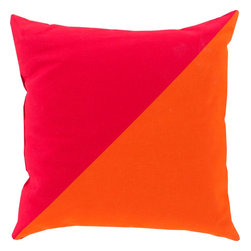 "Surya - Surya RG-139 20"" x 20"" Polystyrene Decorative Pillow - Get the best of both color worlds in your indoor or outdoor space with this superior pillow. Featuring a smoothly split pink and orange coloring, this piece fashions a bold, colorful look sure to brighten any room. This 18x18 pillow contains a Virgin Poly Styrene Bead fill providing a reliable and affordable solution to updating your indoor or outdoor decor."
