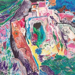 Fantasy Landscape (Original) by Renee Samuels - This is the sort of thing I used to do when I would sit alone for hours working at my desk, before computers! I didn't need any kind of glasses to do this minute close-up work, and I really enjoyed it... This one reminds me of a view one might see looking at seaside cliffs in Italy, for instance. All the little details and the intense color is pure pleasure to me.