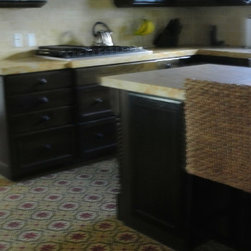 Project Photos - Kitchen project with encaustic decorative paver floor design, and matte solid color ceramic hand painted and handcrafted tile.