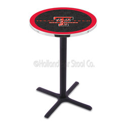 Holland Bar Stool - Holland Bar Stool L211 - Black Wrinkle Texas Tech Pub Table - L211 - Black Wrinkle Texas Tech Pub Table belongs to College Collection by Holland Bar Stool Made for the ultimate sports fan, impress your buddies with this knockout from Holland Bar Stool. This L211 Texas Tech table with cross base provides a commercial quality piece to for your Man Cave. You can't find a higher quality logo table on the market. The plating grade steel used to build the frame ensures it will withstand the abuse of the rowdiest of friends for years to come. The structure is powder-coated black wrinkle to ensure a rich, sleek, long lasting finish. If you're finishing your bar or game room, do it right with a table from Holland Bar Stool. Pub Table (1)