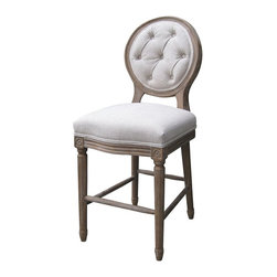Marco Polo Imports - Capulet Counterstool - Simple elegance and romance defines the Capulet counter stool. Each stool is hand-made of Oak, crafted with soft curves and detailed carving. Upholstered in a rich fabric, this chair brings sophistication to any room. Available in Natural.