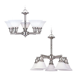Sea Gull Lighting - Sea Gull Lighting-31061-962-Five-light Sussex Chandelier - Five Light Decorative Chandelier Finished in Brushed Nickel with Satin White Glass Shades. Yesterday's styling.