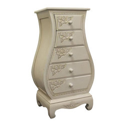 International Caravan - International Caravan Carved Wood Five Drawer Lingerie Chest in White - International caravan - Chests - 3965AW - This hand carved chest comes with five drawers that are great for all those small items that you need a place for.