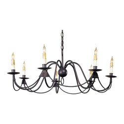 Kathy Kuo Home - Ruther Nouveau Black Iron Low Profile 7 Light Chandelier - A classic in black wrought iron traditional chandeliers shows off the beauty of simplicity with hand forged iron curves that form a low profile chandelier for lower ceilings.