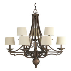 Thomasville Lighting - Thomasville Lighting Meeting Street Traditional 9-Light Chandelier X-201-8654P - From the Meeting Street Collection, this Progress Lighting chandelier blends crisp lines and fluid curves for a unique and eye-catching appeal. The body features two tiers of candelabra style lights complete with ecru linen pleated fabric shades.  To complete the look, choose between a Forged Black or Roasted Java finish.