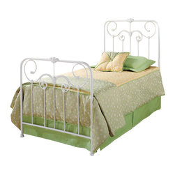 Hillsdale Furniture - Hillsdale Lindsey Metal Bed in Textured White - Queen - A lightly-scaled, Victorian styled bed that marries interesting scroll work with vivid castings. Perfect for a little girl's first bed.