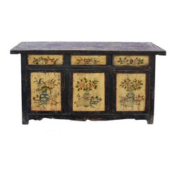 Golden Lotus - Rustic Black Cream Flower Vase Buffet Sideboard - This is a decorative flower graphic Chinese Mongolian style low table with compartment and 3 drawers for storage. Its old vintage accent enriches the interesting tone to the room.