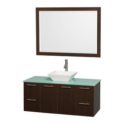 Wyndham Collection - Amare Bathroom Vanity in Espresso, Green Glass Top, White Porcelain Sink - Modern clean lines and a truly elegant design aesthetic meet affordability in the Wyndham Collection� Amare Vanity. Available with green glass , acrylic resin or pure white man-made stone counters, and featuring soft close door hinges and drawer glides, you'll never hear a noisy door again! Meticulously finished with brushed Chrome hardware, the attention to detail on this elegant contemporary vanity is unrivalled.