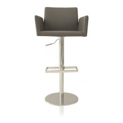 """Felix Grey Stool - The Felix stool comes in an array of colors! This grey version is created with a chrome finish and adjustable height of 20.3"""". No longer will guests have to idly stand by your bar. Now they can relax in style on a modern stool, and enjoy casual conversation. This grey stool has a plush cushion, and even incorporates an additional foot rest for guests to place their feet. It's modern décor meets fashionable comfort!"""