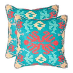 Safavieh - Rye Accent Pillow  - 20x20  - Blue,Red - Rye Accent Pillow  - 20x20  - Blue,Red