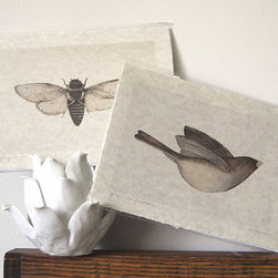 Cicada Art Bird Art Neutral Hand Torn Parchment Print by The Haunted Hollow Tree - These hand-torn parchment prints are perfect to keep your space within a neutral color range while working well with any design scheme.