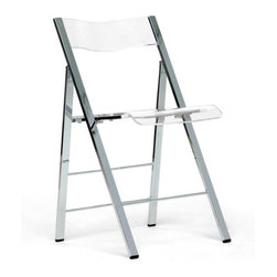n/a - Acrylic Folding Chairs (Set of 2) - Acrylic folding chairs are great for company and entertaining. After you are through using it, you only have to fold it up and put it away. These slim and sleek acrylic folding chairs are constructed of chromed steel, ergonomically sculpted back. The rubber feet prevents scratching wood floors and foldable for easy storage anywhere.