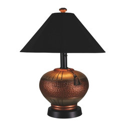 "PLC - Phoenix Copper Outdoor Table Lamp with Black Sunbrella Shade - Add casual elegant styling to your outdoor living area.  Features all resin construction with a heavy weighted copper and brushed silver base. Completely weatherproof with a black Sunbrella shade cover, two level dimming switch and a 16 ft. cord.  Unbreakable poly-carbonate waterproof light bulb enclosure allows the use of a standard 100 watt light bulb.  Dimensions: 25"" L x 25"" W x 32"" H."