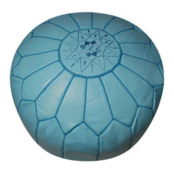 RR - Moroccan Pouf - Sky Blue Leather - Moroccan Pouf - Sky Blue Leather
