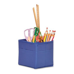 Carson-Dellosa - Carson-Dellosa Table Top Storage Container - 5.3 Height - 4 Pocket(s) - Blue - Unique pockets sit on classroom tables and are perfect for storage and organization. set include three collapsible storage containers measuring 5-1/4 x 5-1/4 x 5-1/4. each durable container features a divider and four storage pockets for school supplies. The exterior also features pocket slots for small, thin items.