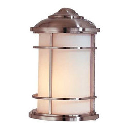 Feiss Lighting - Outdoor Wall Light - OL2203BS - Marine / nautical brushed steel 1-light outdoor wall light. This contemporary outdoor wall light was designed with the style of a lighthouse in mind. Mounted flush against the wall, this sturdy fixture is constructed of die-cast zinc, with the bars of its shade's cage made of solid brass. Its glass is a lovely cream color, while the sleek steel finish of its metal is triple-plated and powder-coated lacquer for durability and weather resistance. Measures just under one foot in height, extends 5 inches from the wall. Takes (1) 100-watt incandescent A19 bulb(s). Bulb(s) sold separately. Wet location rated.