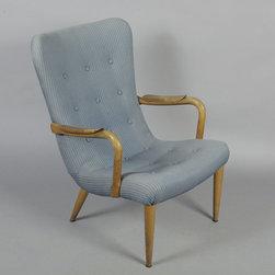 Danish Wingback Chair in Beech Wood, 1940s - Vintage 1940s Danish Armchair