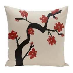 e by design - Floral Tree Red 16-Inch Cotton Decorative Pillow - - Decorate and personalize your home with coastal cotton pillows that embody color and style from e by design  - Fill Material: Synthetic down  - Closure: Concealed Zipper  - Care Instructions: Spot clean recommended  - Made in USA e by design - CPO-NR11-Dragon-16