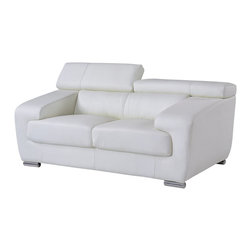 Global Furniture - Global Furniture Loveseat - A very sleek and elegant design and perfect for all living spaces this full leather loveseat is just what you need. Featuring moveable headrests, comfortable and spacious seating, wide arms and chrome plated legs, you get style and comfort in one contemporary design.