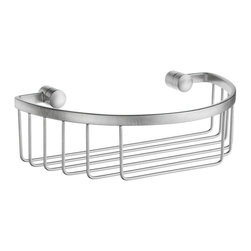 Smedbo - Sideline Half Round Soap Basket in Brushed Chrome Finish - Concealed fastening. Produced in Solid Brass it will never rust. 9 in. W x 5 in. D x 2.5 in. H