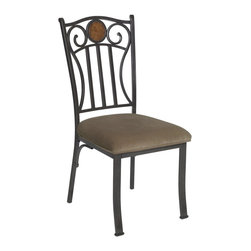 Powell - Powell Abbey Road Side Chairs (Pack of 2) X-434-137 - The Abbey Road Side Chair has a stylish design and style. The chair features a sturdy straight lined metal frame. A soft neutral fabric covers the plush seat. The chair back is accented with two swirls and a round, circle MDF accent. Perfect for accenting the Abbey Road Dining Table!