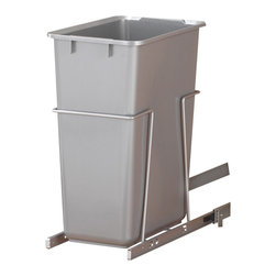 """KV Kitchen & Bath Storage - Slide-Out Waste & Recycling Bin/Non-Lidded in Frosted Nickel - Slide-Out Waste . Recycling Center/Non-Lidded.  1 - 35 qt. Bin.  Fits 10"""" (25. 4cm) min. wide opening.  Plastic Component Finish-Platinum.  Metal Component Finish-Frosted Nickel"""