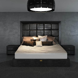 Unique Leather Contemporary Platform Bedroom Sets - Black contemporary crocodile leather master bedroom suite. Now u can taste sweet slumber in the lap of luxury-quite literally.