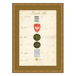 Soicher-Marin - Antique Apothocary Labels, Paris D - Giclee Print with a mid century modern antique distressed bronze wooden frame with fly speckle antique with a gold key line around image on a brown/tan mat. Includes Glass, eyes and wire. Made in the USA. Wipe down with damp cloth