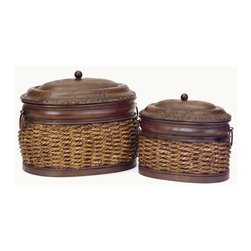 IMAX Worldwide Home - 2-Pc Rattan Lidded Boxes Set - Includes two box. Oval shape. Nesting metal. Made from 70% iron and 30% grass. Small: 9 in. W x 6 in. D x 7.5 in. H (5.8 lbs.). Large: 12 in. W x 8.75 in. D x 9.5 in. H (5.8 lbs.)Store your smaller accessories inside the rattan lidded boxes as they add rustic charm to your home.