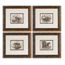 Uttermost - Horses Framed Art Set of 4 - Accented By White Mats, These Prints Are Surrounded By Bronze Leaf Frames With A Black Wash. Matching Fillets Are Around Inner Edges Of Mats. Prints Are Under Glass.