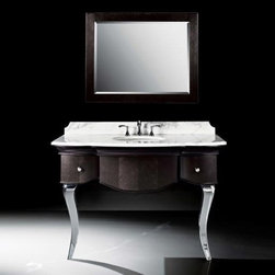 """Luxe Bath Works - Burke Collection 51"""" Bathroom Vanity B7034BV51-XB69 - This unusual console combines a subtle black finish on carefully patterned veneers with highly polished chrome legs, and offers the ultimate in glamour and design. The two drawers feature custom shaped fronts to flow with the exterior design, and operate perfectly on fully concealed, slow-close drawer glides. The Carrara marble top and mirror complete the stylish look of this 52""""vanity."""