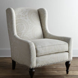 "Bernhardt - Bernhardt ""Dunning"" Wingback Chair - With its tone-on-tone foliage-motif upholstery, turned legs, and nailhead trim, this chair brings cool sophistication and classic, traditional style to the room. A beautiful addition to any living space, just imagine it tucked quietly into a corner of a..."
