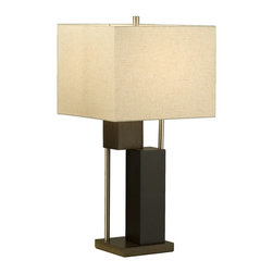 Nova Lighting - Nova Lighting Bild Contemporary Table Lamp X-3710101 - Ideal for the contemporary home of today, this Nova Lighting contemporary table lamp from the Bild Collection features an angular body from base to shade. The combination of finishes, including Brushed Nickel, Pecan and Dark Brown, help to highlight the eye-catching angles.