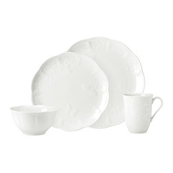 Lenox - Lenox Butterfly Meadow Cloud 4-piece Place Setting - This four-piece place setting set is a new look for a classic pattern. Original Butterfly Meadow garden scenes of raised butterflies and vines are embossed on this scalloped,pure white,glazed porcelain dinnerware.