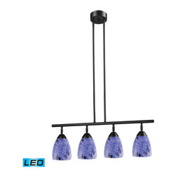 ELK - ELK 10153/4DR-BL-LED Billiard/Island - Designed To Showcase Our Many Blown Glass Options, The Celina Collection Utilizes A Simplified Frame That Embellishes The Shape And Color Of The Glass.  Finished In Polished Chrome Or Dark Rust. - LED, 800 Lumens (3200 Lumens Total) With Full Scale Dimming Range, 60 Watt (240 Watt Total)Equivalent , 120V Replaceable LED Bulb Included