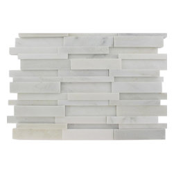 "Illusion 3d Brick Asian Statuary Pattern - ILLUSION 3D BRICK ASIAN STATUARY MARBLE PATTERN MOSAIC TILE] This distinctive pattern is made of various sized pieces of marble in Asian statuary. The 3D brick pattern gives a unique and elegant design to your room. This modern and contemporary tile can be used as a feature wall, backsplash, fireplace, bathroom, or kitchen. Chip Size: 5/8"" x 4, 3/4"" x 4, 1 1/2"" x 4 Color: Asian Statuary Material: Marble Mosaic Finish: Polished Sold by the Sheet - each sheet measures 12"" x 12"" (1sq. ft.) Thickness: 8mm"
