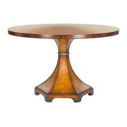 Frontgate - Oriel Round Center Table - Crafted from acacia wood and ash burl. Light walnut finish. Wipe clean with a soft, damp cloth >. Whether placed in the center of an entry hall or tucked into a dining area, the Oriel Round Center Table is sure to be a showstopper. With its neoclassic architectural form, this elegant piece is the ultimate expression of French Directoire style.  .  . Wipe clean with a soft, damp cloth . >