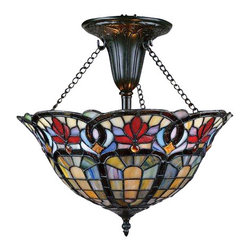 Quoizel - Quoizel QZ-TF1796VB Hyacinth Traditional Tiffany Semi Flush Mount Ceiling Light - An absolutely breathtaking art glass design that is sure to impress. Features genuine handcrafted art glass in soft greens and creams, accented with crimson and blue and arranged in a classic Art Nouveau pattern. Diamond shaped Quoizel Prismstones add even more dimension and texture to the design.