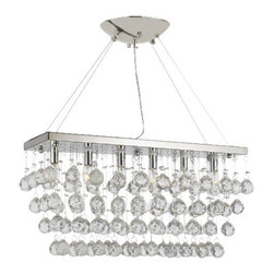 "The Gallery - Chandelier Light w/ Crystal Modern ""Rain Drop"" Chandeliers Linear Pendant - 100% CRYSTAL CHANDELIER. A excellent crystal fixture for your foyer, dining room, living room and more! This fixture features beautiful 100% Crystals Balls that capture and reflect the light. Truly a stunning chandelier, this chandelier is sure to lend a special atmosphere anywhere it is placed. Width 24"" Adjustable Height from 12"" to 58"" Depth 6.7"" 6 LIGHTS Shipping 21"
