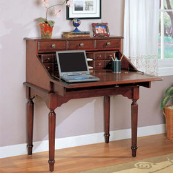 Coaster - Cherry Traditional Secretary - This beautiful secretary desk features turned legs and antiqued brass hardware. Five drawers are features on the outside, with eight storage drawers on the inside as well as letter shelves.