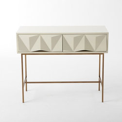 Sculpted Geo Console, Parchment - West Elm has a new line of furniture that screams Elle Decor, and this is, hands down, one of my favorites. The faceted geometric drawers take this number to the next level.