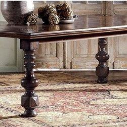 Hekman Furniture - Castilian Dining Table - Hand carving on table top corners. Planking on the tabletop. Teak wood. Turned legs. Warranty: One year. Made from select hardwood solids and veneers. Heavily distressed castilian finish. 94.5 in. L x 47.25 in. W x 30 in. H
