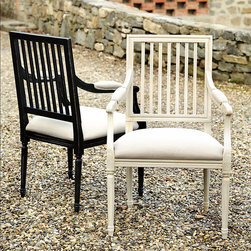 Ballard Designs - Sorrento Upholstered Armchair - Crafted in Italy of solid hardwood & fine veneers. Choose from several linen colors. The wide, upholstered seat encourages lingering long after the meal is over. Hand crafted in Italy, the classic slat back frame features tapered fluted legs, padded arm rests and padded linen seat. Part of our exclusive Casa Florentina collection, it's available in your choice of several hand-applied finishes. Skilled Italian artisans apply your custom finish in layers, distressing each one by hand using the same simple tools and techniques employed by Florentine artists for centuries. Sorrento Armchair features: . .