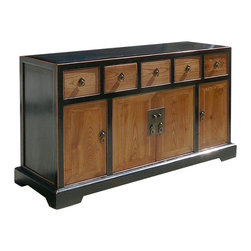 Golden Lotus - Chinese Ming Style Simple Design Buffet Cabinet TV Stand - This is a Chinese buffet cabinet which is made of solid elm wood.  This buffet cabinet comes with very simple design.  Right now, it can be used as TV stand cabinet, and the shelves can be stored CD/DVD components.