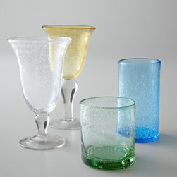 """Horchow - Four """"Iris"""" Iced-Tea Glasses - Substantial glassware adds interest to table settings with its irregular shapes and bubbles. Select color when ordering. Dishwasher safe. Each size sold in sets of four. Goblet holds 14 ounces. Iced-tea glass holds 18 ounces. Highball holds 17 ou..."""