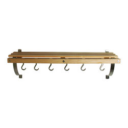 J.K. Adams - Wall Mounted Pot Rack, Natural - The set includes six pot hooks and installation hardware.  The brushed nickel brackets can be installed to support the rack from the top or bottom. Must be installed into solid wood